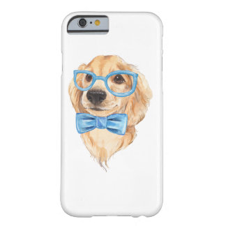 Cute dog. Blue glasses and bow tie. Watercolor Barely There iPhone 6 Case