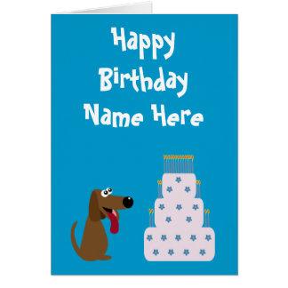 Cute Dog & Cake Birthday Animal Charity Blue Card