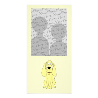 Cute Dog Cartoon. Yellow Hound. Picture Card