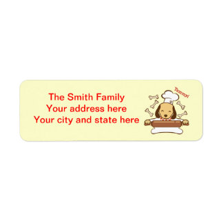 Cute dog chef rolling out cookie dough. return address label
