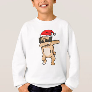 a65b5bbbf7c5c Cute Dog dab with santa hat Chrismas T-Shirt