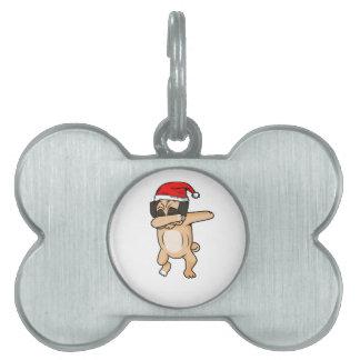 Cute Dog dab with santa hat Chrismas T-Shirt Pet Name Tag