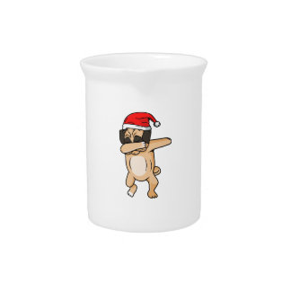 Cute Dog dab with santa hat Chrismas T-Shirt Pitcher
