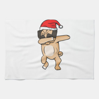 Cute Dog dab with santa hat Chrismas T-Shirt Tea Towel