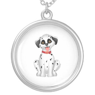 Cute dog Dalmatian Silver Plated Necklace