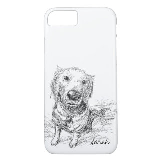 Cute Dog Drawing Black White Scribble Name iPhone 8/7 Case