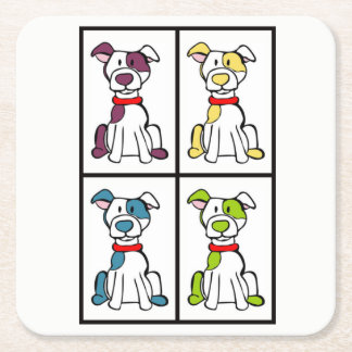 Cute Dog Drawing - Bully Breed Square Paper Coaster