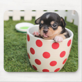 Cute Dog in mug for Kids Mouse Pad