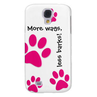 Cute Dog iPhone Cover Pink Paws Samsung Galaxy S4 Cover