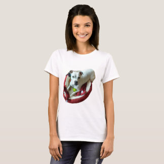 Cute Dog Laying on Bed Women's T-Shirt