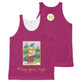 Cute Dog Making Spirits Bright Holiday Monogram All-Over Print Singlet