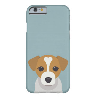Cute dog on cyan background barely there iPhone 6 case