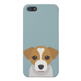 Cute dog on cyan background iPhone 5/5S case