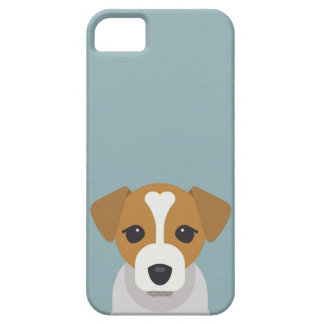 Cute dog on cyan background iPhone 5 case