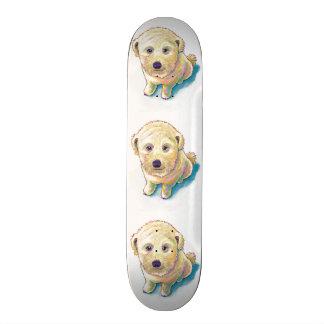 Cute dog painting whoodle wheaten mutt beige puppy skateboard deck