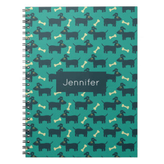 Cute Dog Pattern with Bone on Green Background Notebook