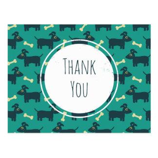 Cute Dog Pattern with Floppy Ears & Bone Thank You Postcard