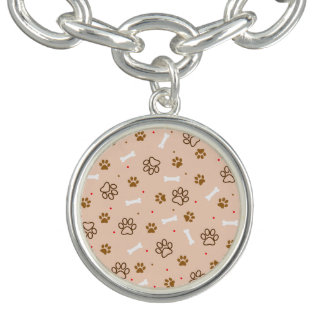 Cute dog pattern with paws bones tiny polka dots