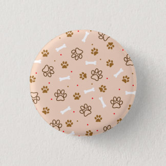 Cute dog pattern with paws bones tiny polka dots 3 cm round badge
