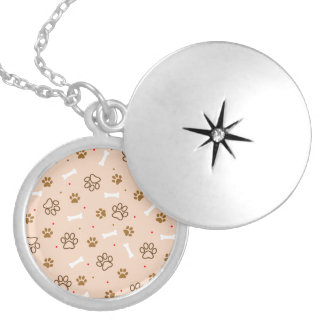 Cute dog pattern with paws bones tiny polka dots locket necklace