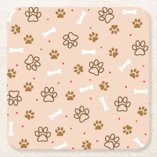 Cute dog pattern with paws bones tiny polka dots square paper coaster