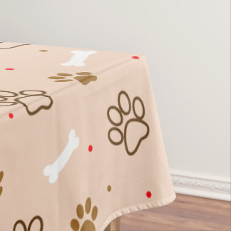 Cute dog pattern with paws bones tiny polka dots tablecloth