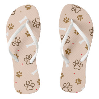 Cute dog pattern with paws bones tiny polka dots thongs
