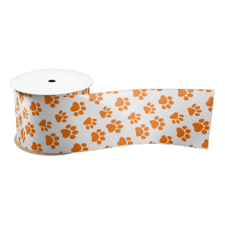 Cute Dog Paw Prints for Dog Lovers V10 ORANGE Paws Satin Ribbon