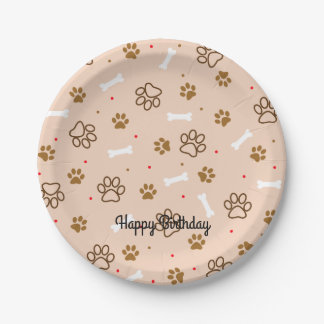 cute dog paws and bones polka dots pattern 7 inch paper plate