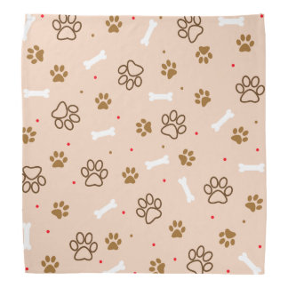 cute dog paws and bones polka dots pattern bandana
