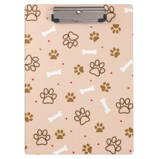 cute dog paws and bones polka dots pattern clipboard