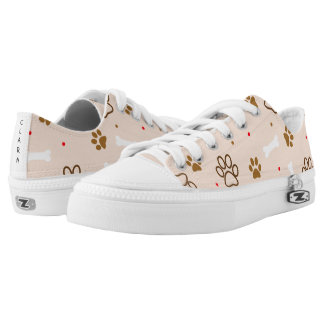 cute dog paws and bones polka dots pattern low tops