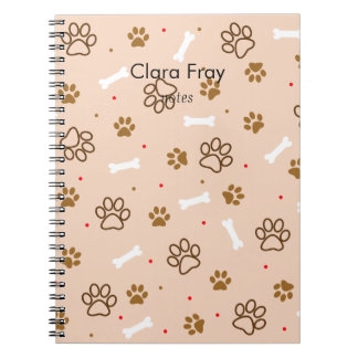cute dog paws and bones polka dots pattern notebook