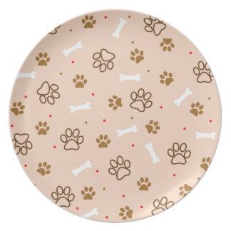 cute dog paws and bones polka dots pattern plates