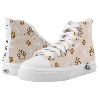 cute dog paws and bones polka dots pattern printed shoes
