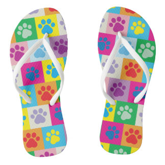 Cute Dog Paws Patchwork Pattern Thongs