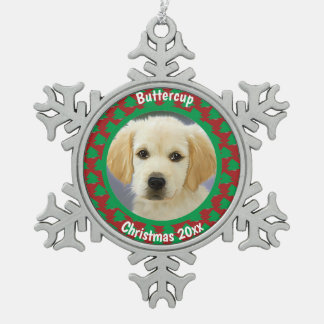 Cute Dog, Pet Red and Green Christmas Tree Print Snowflake Pewter Christmas Ornament