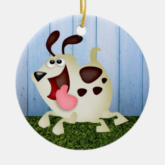Cute Dog / Pup Ceramic Ornament