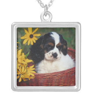 Cute Dog Puppy Necklace Square Pendant Necklace