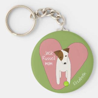 cute dog tilting head pink heart Jack Russell mum Key Ring