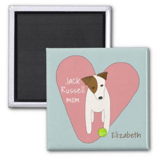 cute dog tilting head pink heart Jack Russell mum Magnet