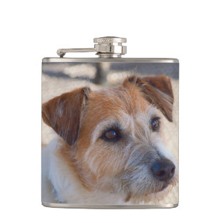 Cute dog vinyl wrapped flask