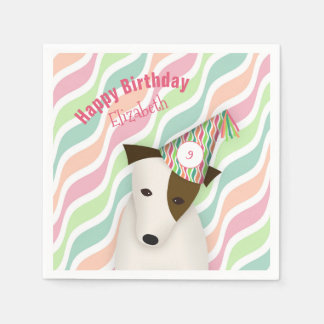 cute dog wearing a party hat pink girl's birthday disposable napkin