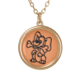 Cute Dog with Bone Orange Gold Plated Necklace