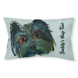 Cute Dog Yorkie Pop Art Painting in Blue and Green Pet Bed
