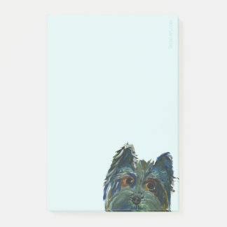 Cute Dog Yorkie Pop Art Painting in Blue and Green Post-it Notes