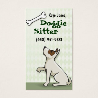 Cute Doggie Business Cards- green Business Card