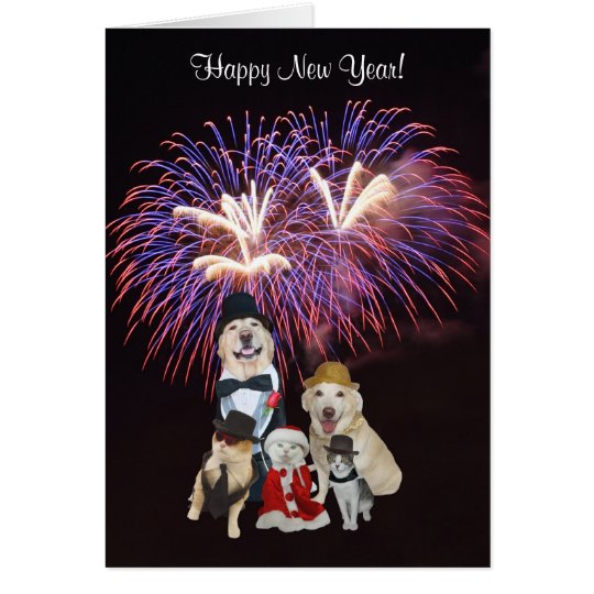 Cute Dogs & Cats Happy New Year Card