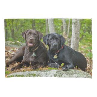 Cute Dogs Chocolate Lab Black Labrador Retriever Pillowcase