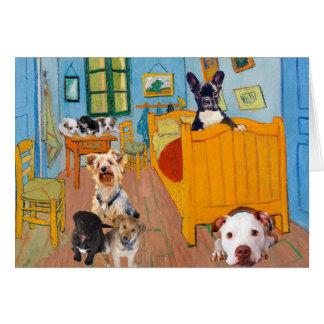 Cute Dogs in Van Gogh's Bedroom Card